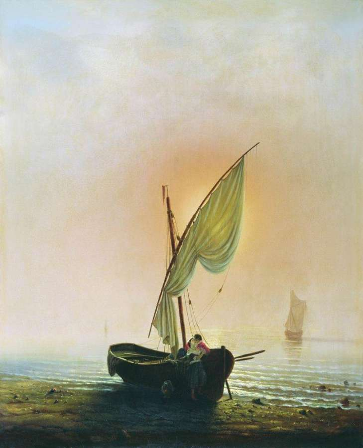 картины лодки под парусами