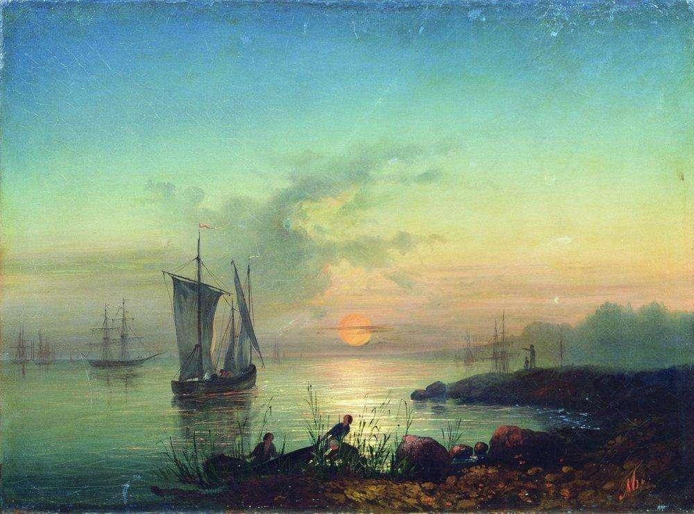 Закат на берегу моря - Боголюбов Алексей Петрович