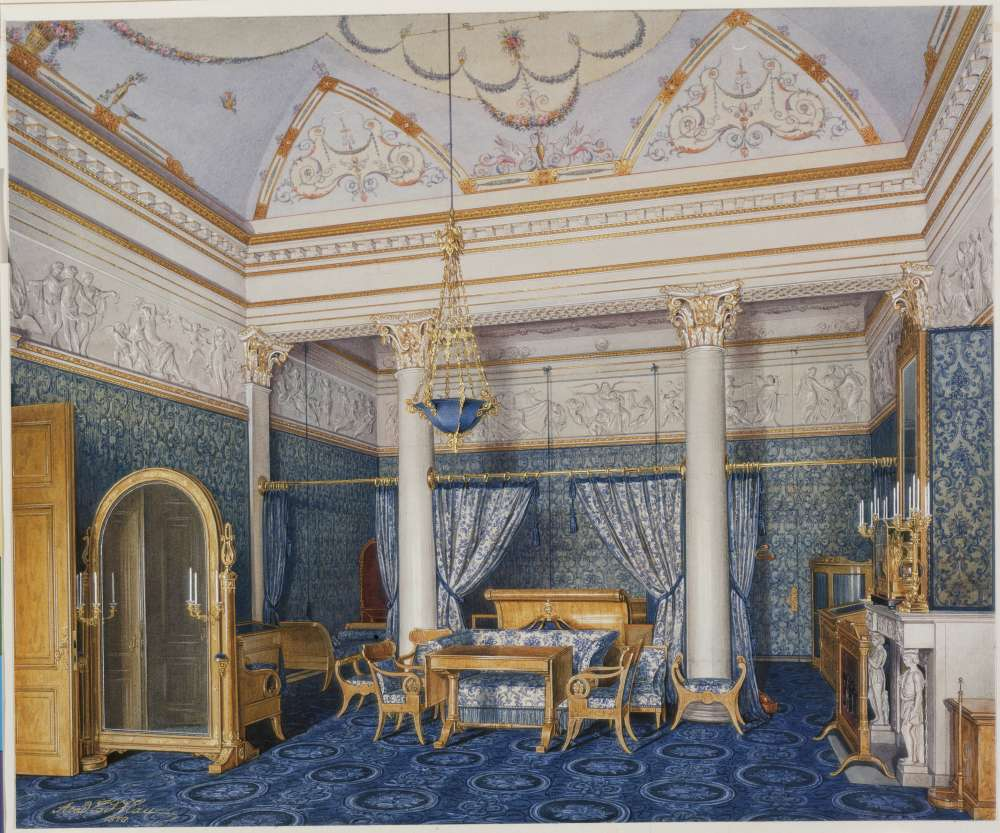 Interiors.of.the.Winter.Palace.The.Bedchamber.of.Empress.Alexandra.Fyodorovna - Гау Эдуард Петрович