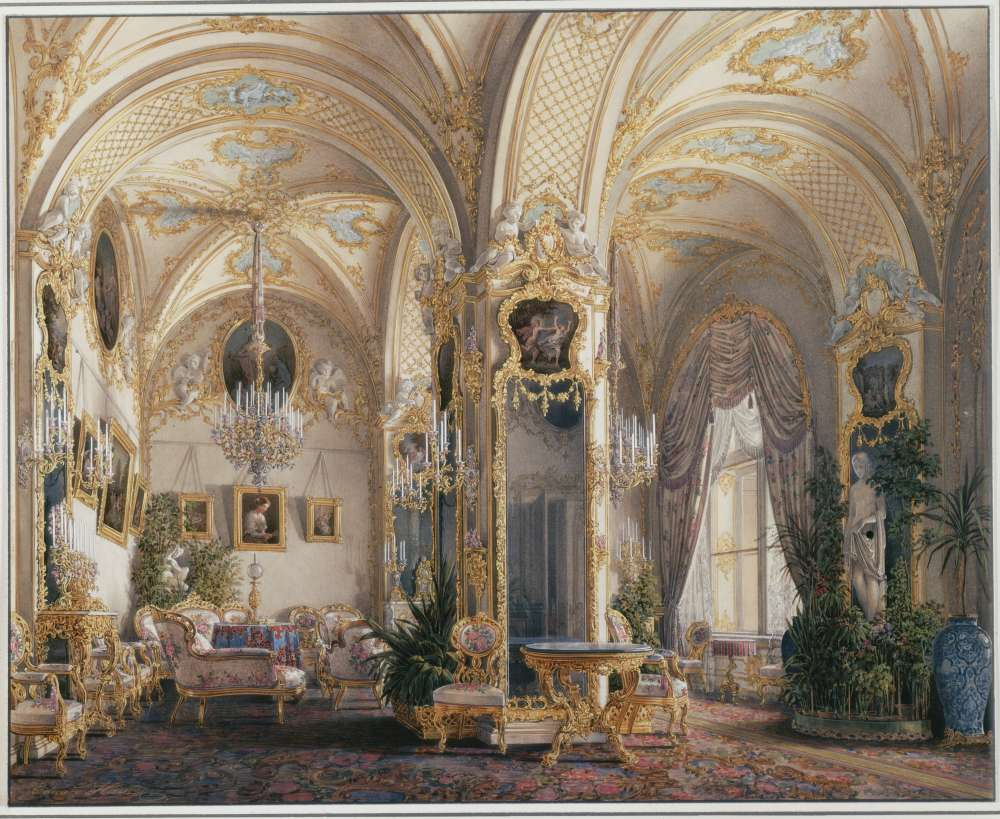Interiors.of.the.Winter.Palace.The.Drawing.Room.in.Rococo.II.Style.with.Cupids - Гау Эдуард Петрович