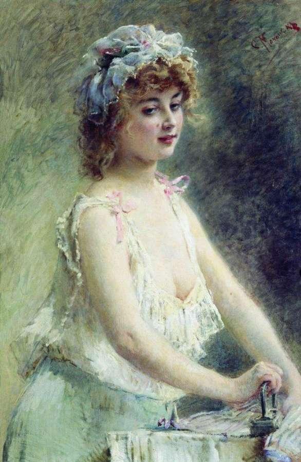 Гладильщица. 1880-е - Маковский Константин Егорович