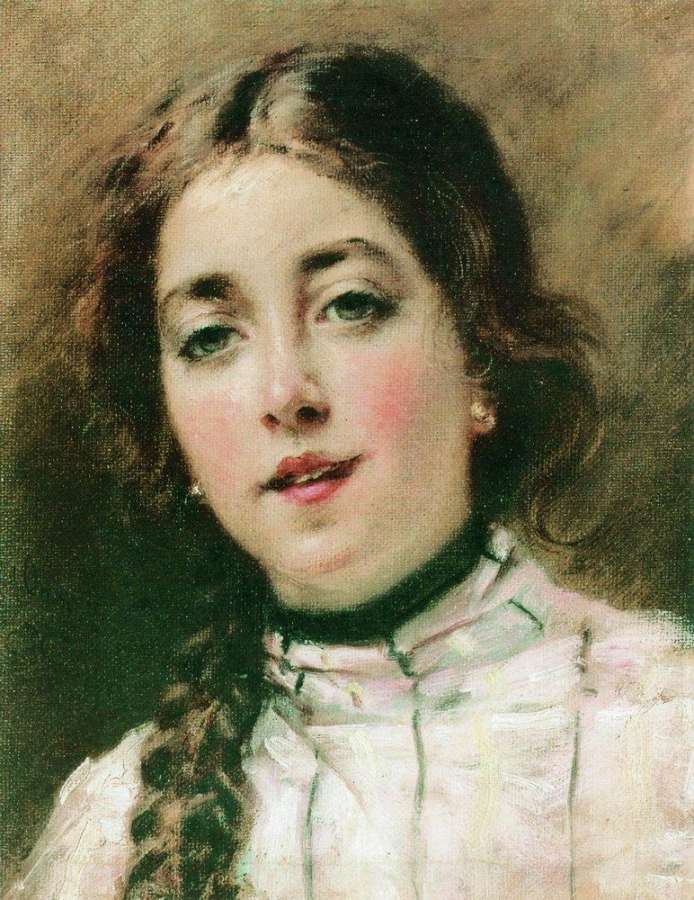 Портрет дочери художника. Оленька. 1900-е - Маковский Константин Егорович