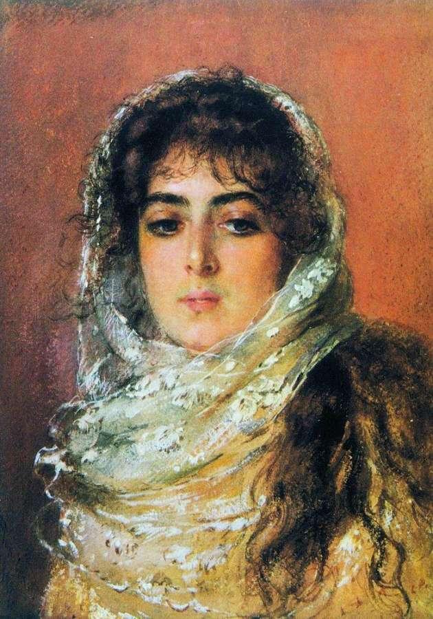 Портрет жены художника Ю.П.Маковской. 1887 - Маковский Константин Егорович