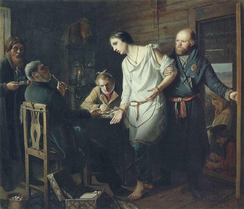 Приезд станового на следствие. 1857 Х., м. 38х43 ГТГ - Перов Василий Григорьевич