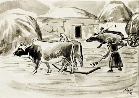 1929 Illustration. Scenes from Armenian life. Threshing grain. - Сарьян Мартирос Сергеевич