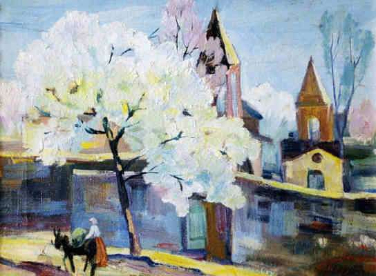1934 Zaravor. Blooming Apricot Tree. Oil on canvas. 30x40 - Сарьян Мартирос Сергеевич