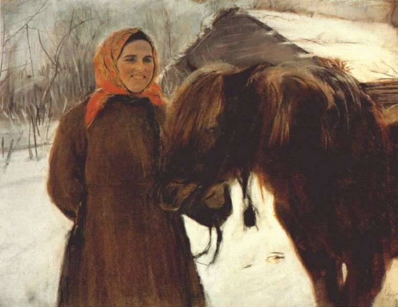 serov_in_the_village_(peasant_woman_with_a_horse)_1898 - Серов Валентин Александрович