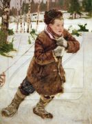 A Peasant Boy in the Woods in Wintertime - Богданов-Бельский