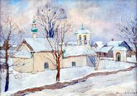 Winter landscape with a church. Oil on canvas. 51,9x69,5 - Богданов-Бельский