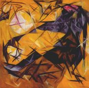 goncharova_cats_(rayonist_perception_in_rose_black_and_yellow)_1913 - Гончарова