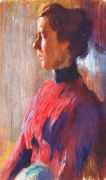 dobuzhinsky_unknown_woman_in_red_1901 - Добужинский