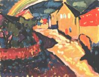 Kandinsky Murnau with Rainbow, 1909, Gabriele Munter Founda - Кандинский