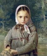 Portrait of a young girl in a headscarf. 1874 Oil on canvas. 48.2x38.2 - Корзухин