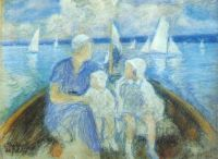 pasternak_lady_with_two_children_in_a_boat_1932 - Пастернак