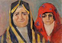 1913 Jewish Ladies in Persia. Oil on canvas, laid on card, 36.5x52 - Сарьян