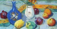1913 Still Life with Jug and Fruit. Tempera on cardboard. 27.5x51 - Сарьян