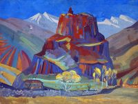 1923 View of Bjini Fortress, Armenia.. Tempera on card, 57x75.5 - Сарьян