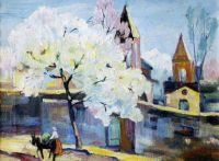 1934 Zaravor. Blooming Apricot Tree. Oil on canvas. 30x40 - Сарьян